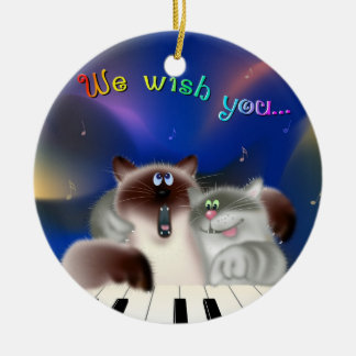 Cats Playing Piano Double-Sided Ceramic Round Christmas Ornament