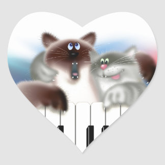 Cats Playing Piano Heart Sticker