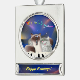Cats Playing Piano Silver Plated Banner Ornament