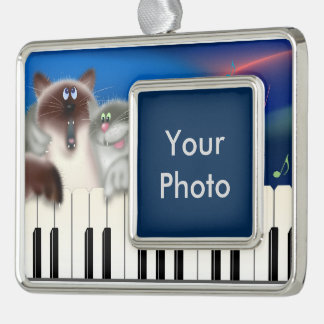 Cats Playing Piano Silver Plated Framed Ornament