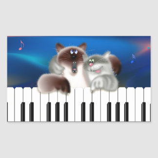 Cats Playing Piano Rectangle Stickers