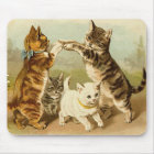 Cats Playing Vintage Illustration Mouse Mat