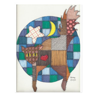 Cats - Quilted Postcard