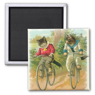 Cats Riding Bikes Refrigerator Magnets