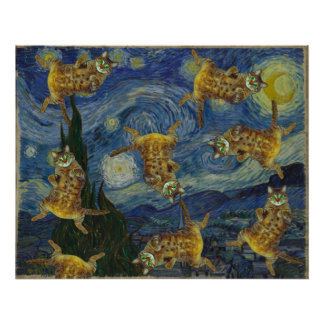 "Cats rock in Van Gogh's ""Starry Night"" Poster"