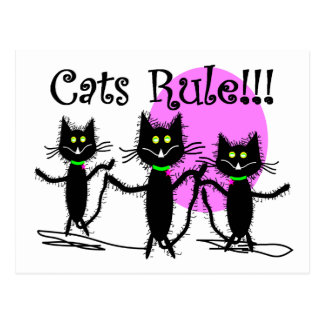 Cats Rule Black Cat Design adorable Post Cards