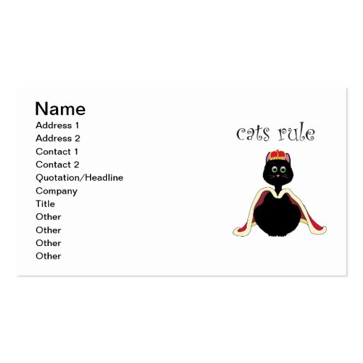 Cats Rule Business Card Templates