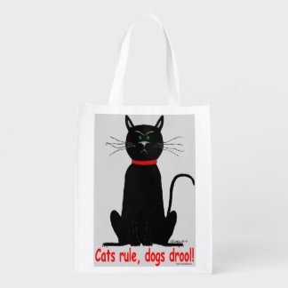 Cats rule! crabby black cat reusable grocery bag!