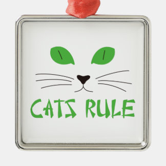 Cats Rule Square Metal Christmas Ornament