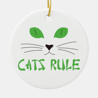 Cats Rule Double-Sided Ceramic Round Christmas Ornament