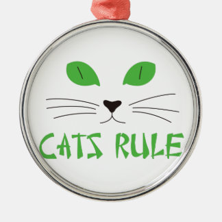 Cats Rule Round Metal Christmas Ornament