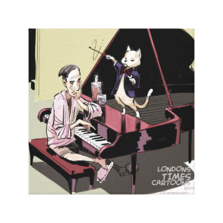 Cats Rule Even The Pianist Rick London Print Stretched Canvas Prints