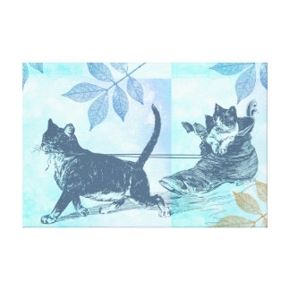 Cats Shoe Sled Gallery Wrapped Canvas