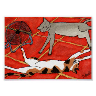 Cats Sleeping by the Fan on a Hot Day Mini Poster