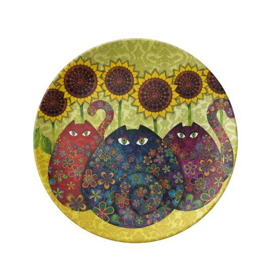 Cats & Sunflowers Porcelain Plate