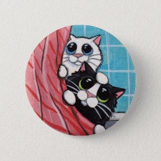 Cats Taking A Shower - Cat Art Button