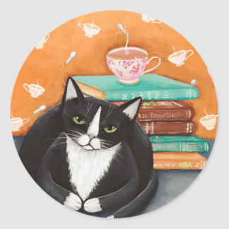 Cats, Tea, and Books Round Sticker