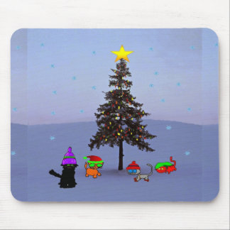 Cats Under A Christmas Tree Mousepad