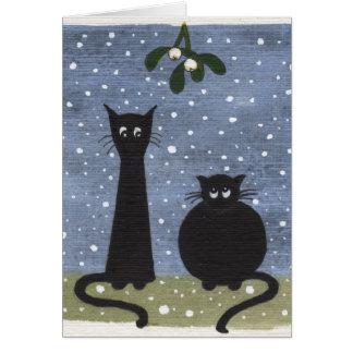 cats under mistletoe greeting card