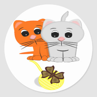 Cats Watching A Butterfly On A Ball Of Yarn Round Sticker