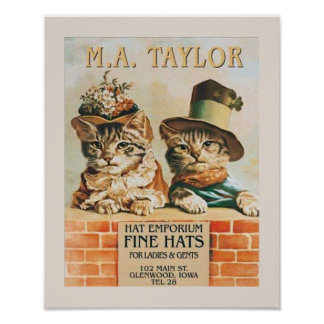 Cats Wearing Hats Poster