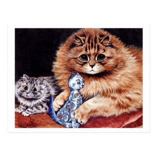 Cats with China Doll Postcard