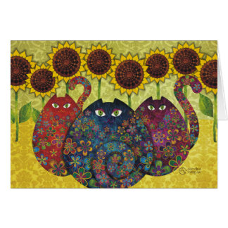 cats with sunflowers greeting cards