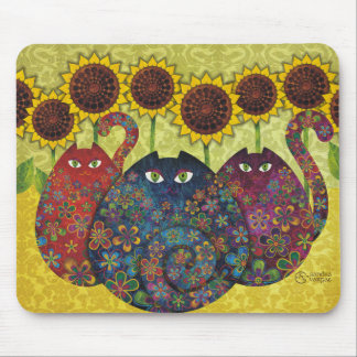 cats with sunflowers mouse pad