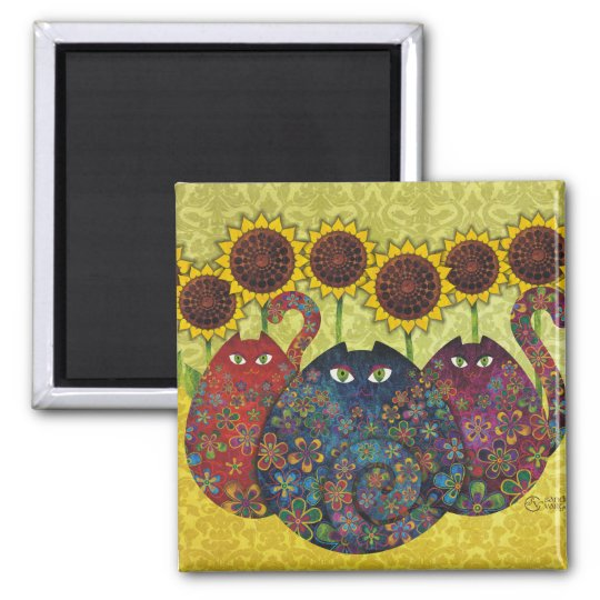 Cats With Sunflowers Square Magnet