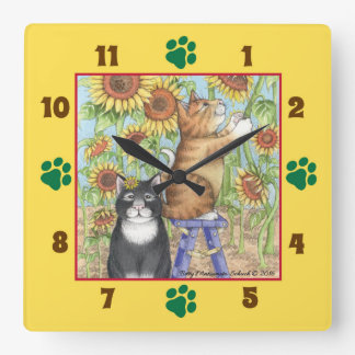 Cats With Sunflowers Square Wall Clock