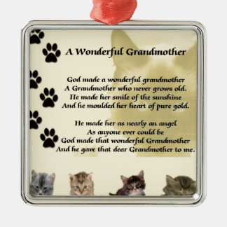 Cats - Wonderful Grandmother Poem Silver-Colored Square Decoration