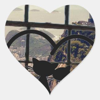 catsin love in Rio De Janeiro Heart Sticker