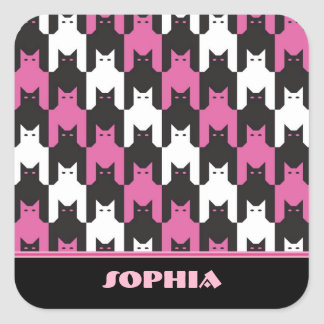 CatsToooth Stripes Square Stickers