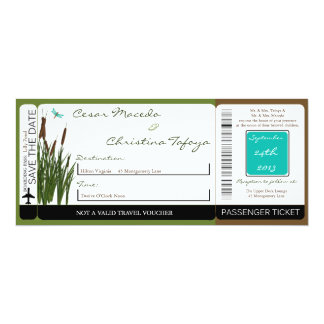 Cattail/Dragonfly Boarding Pass Wedding Invitation