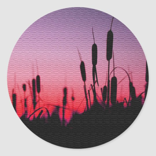 Cattails in the Sunset Classic Round Sticker