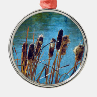 Cattails on the Pond Silver-Colored Round Decoration
