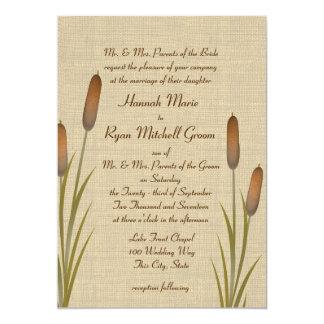 Cattails Rustic Lake Wedding 13 Cm X 18 Cm Invitation Card