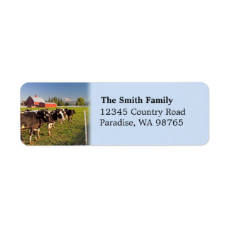 Cattle and Red Barn Label Return Address Label
