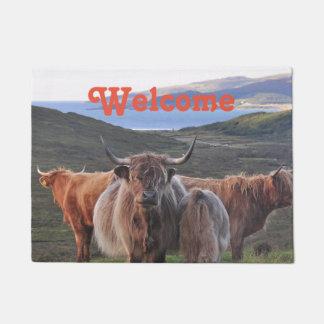Cattle Bull Horn Hairy Cow Heifer Landscape Photo Doormat