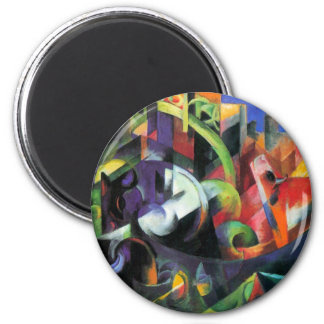 Cattle by Franz Marc, Vintage Abstract Fine Art 6 Cm Round Magnet