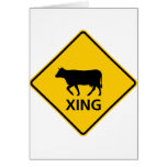 Cattle Crossing Highway Sign Greeting Card