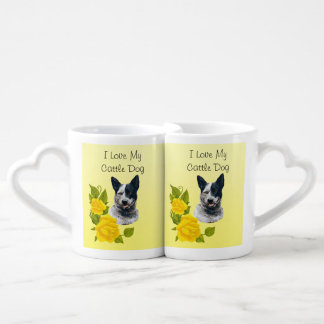 Cattle Dog & Yellow Roses Double Mug Lovers Mug