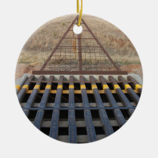 Cattle Guard across Gravel Road, Western Theme Round Ceramic Decoration