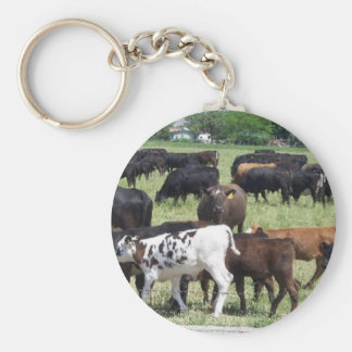 Cattle Herd Basic Round Button Key Ring