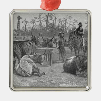 Cattle in a Kansas Corn Corral Christmas Ornament