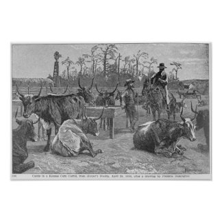 Cattle in a Kansas Corn Corral Poster