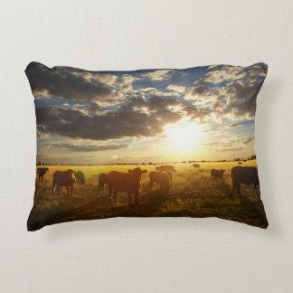 Cattle In Field, Sunset Decorative Cushion