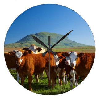 Cattle In Kamberg Valley, Kwazulu-Natal Large Clock
