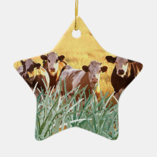 Cattle in the grass ceramic star decoration