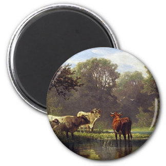 Cattle on the Pond 6 Cm Round Magnet